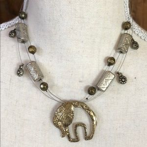 Chico Bronze and Silver Tone Elephant Necklace